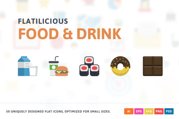 Food Drink Flat Icons