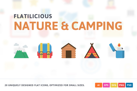 Nature Camping Flat Icons