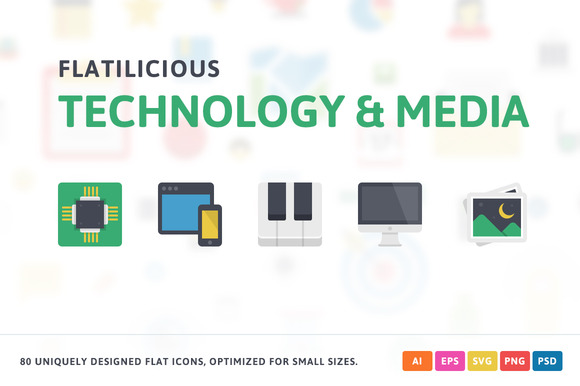 Technology Media Flat Icons