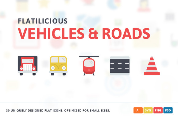 Vehicles Roads Flat Icons