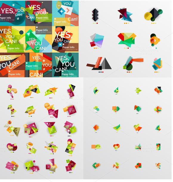 Jumbo Set Of Origami Infographics