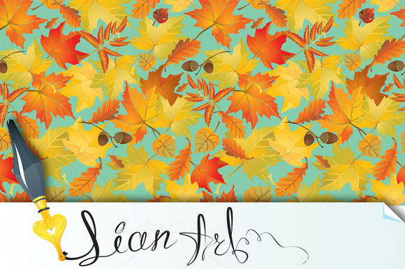 Seamless With Yellow Autumn Leaves
