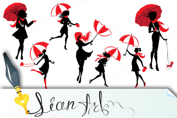 Girls Silhouettes With Umbrellas