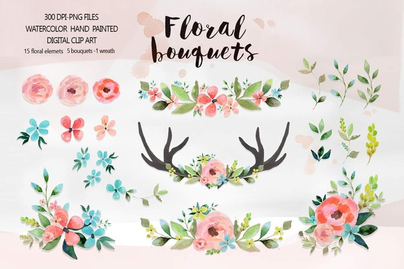 Floral Bouquets Watercolor Clipart