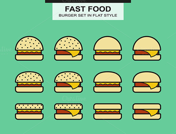 Set Of Different Shape Burgers