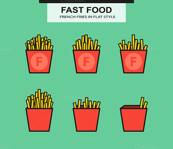 French Fries Set In Flat Style