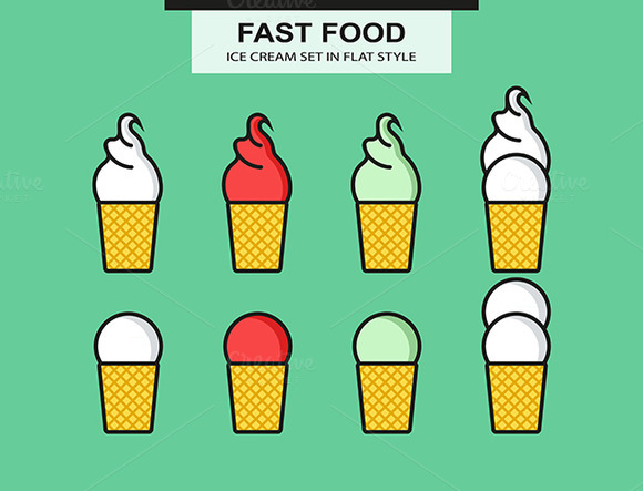 Ice Cream Set In Flat Style