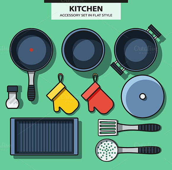 Set Of Kitchen Subjects In Flat Styl