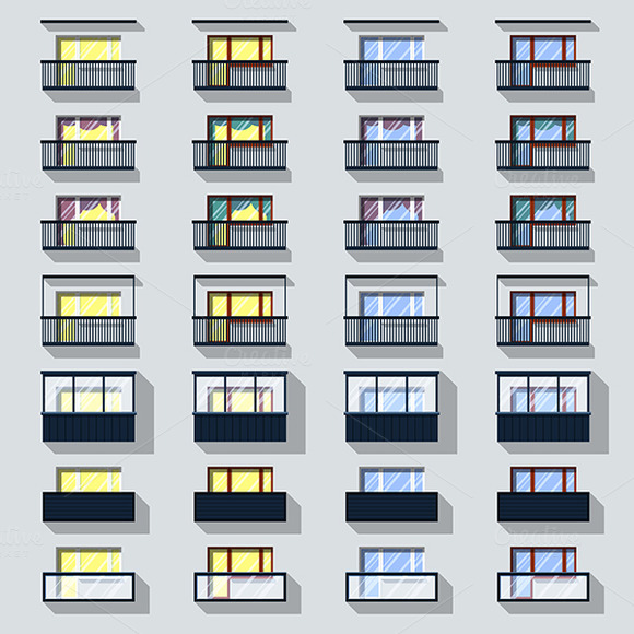 Set Different Types Of Balconies Wit