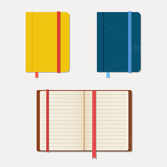 Set Of Notebooks In Flat Style With