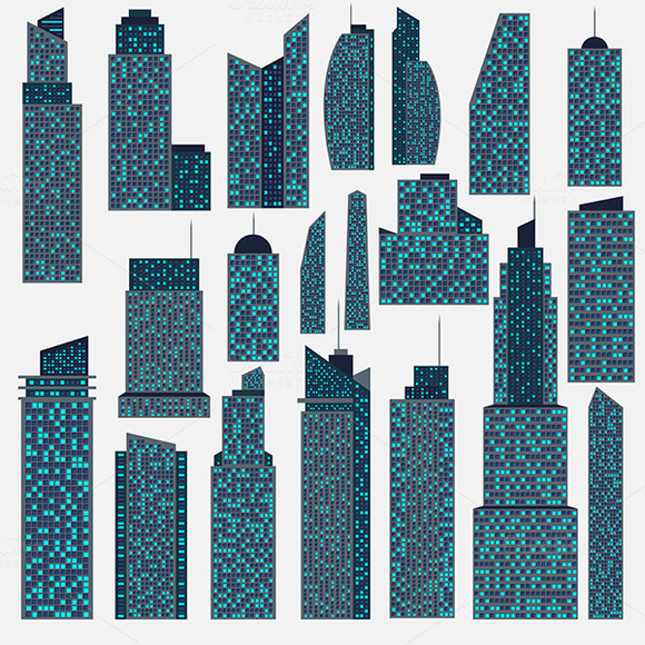 Set Of Detailed Vector Skyscraper
