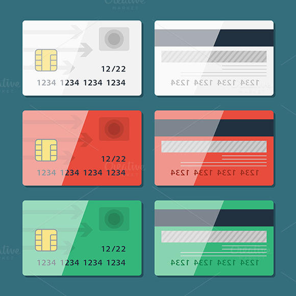 Vector Credit Card Two Sides In Flat
