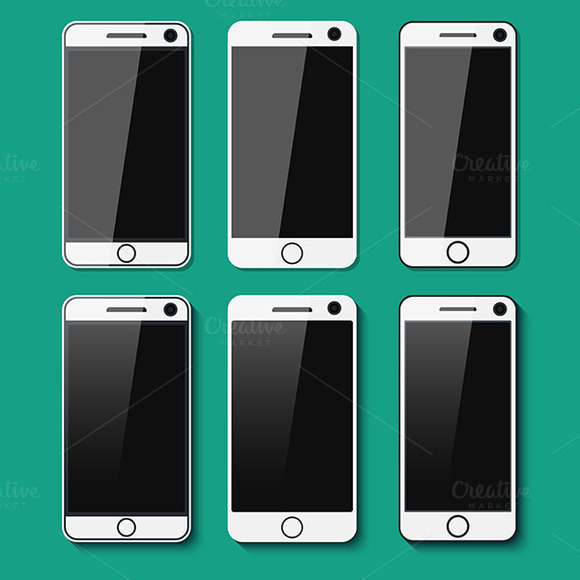 Set Of Detailed Phones With Shadows