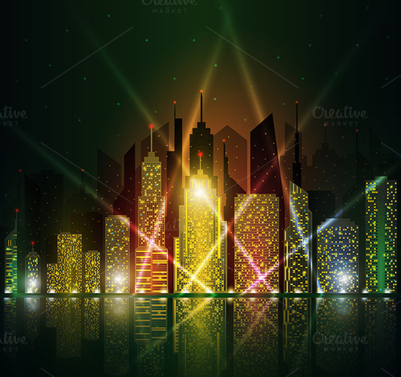 Colored And Bright Night Cityscape