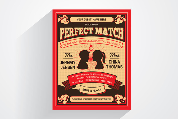 Perfect Match Wedding Invitation