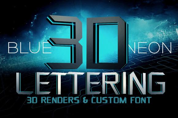 Blue Neon 3D Lettering Font