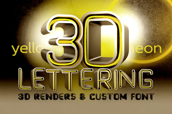Yellow Neon 3D Lettering Font