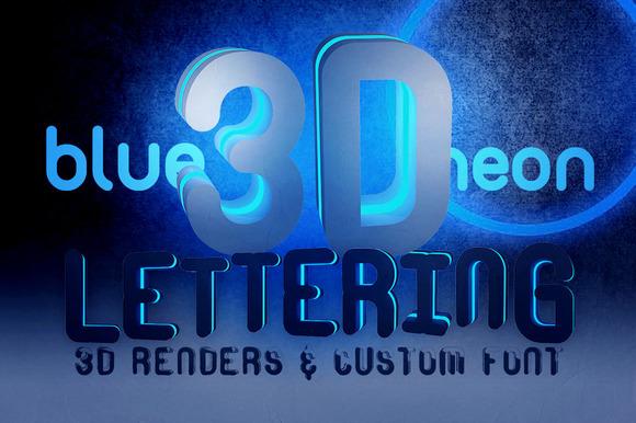 Blue Neon 2 3D Lettering Font