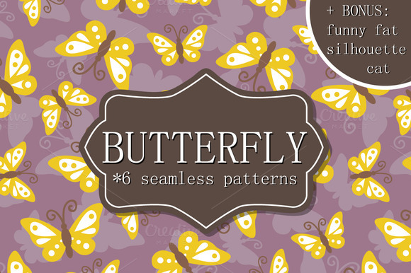 6 Seamless Patterns With Butterfly