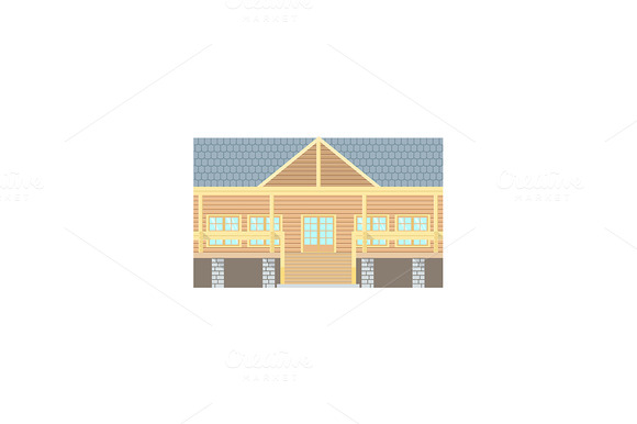 Flat Design Wooden Log Building