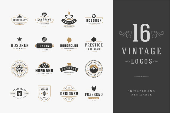 16 Vintage Logotypes Or Badges