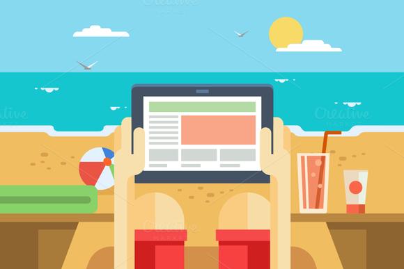 Digital Tablet On Beach