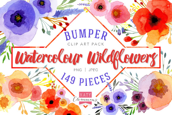 Watercolour Wildflowers Clip Art