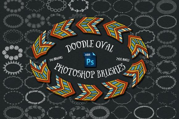 96 Doodle Oval Photoshop Brushes