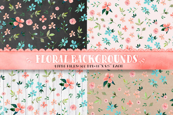 Floral Backgrounds Digital Paper