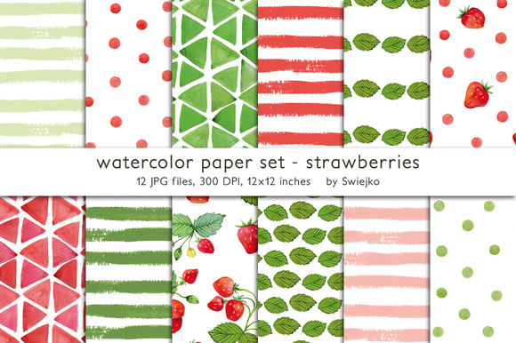 Watercolor Background Strawberries