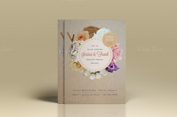 Rustic Rose Wedding Invitation
