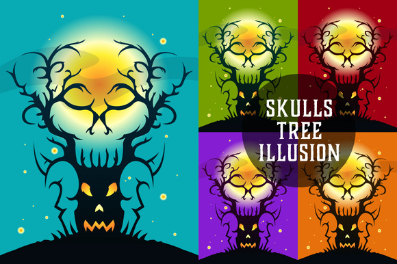 Skulls Tree Illusion Illustration