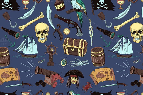 Colored Pirates Pattern Hand Drawn