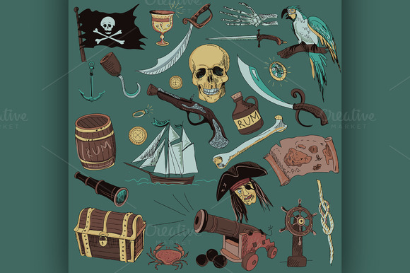 Colored Pirates Set Hand Drawn