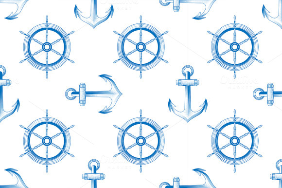 Marine Themed Seamless Pattern