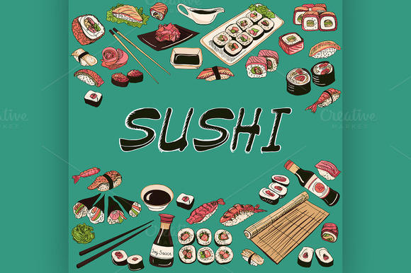 Sushi Vector Illustration Hand Draw