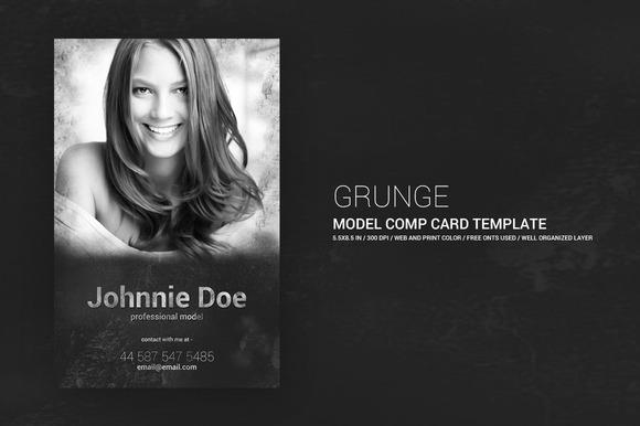 Grunge Model Comp Card 5.5x8.5