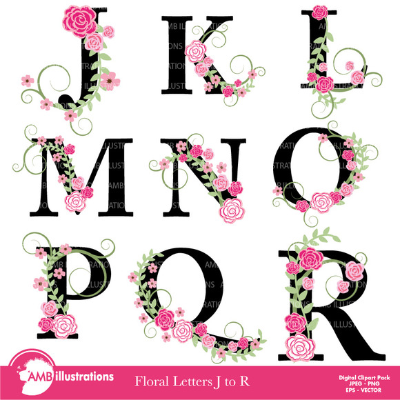 Floral Lettering Clipart J To R 933