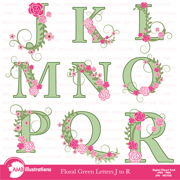 Floral Lettering Clipart J To R 957