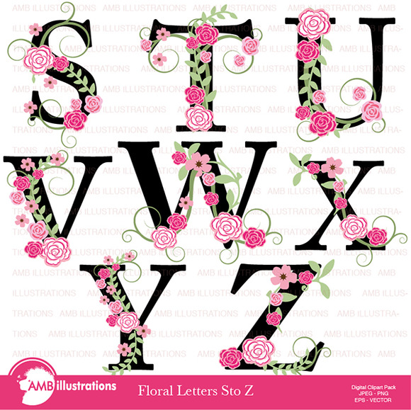 Floral Lettering Clipart S To Z 934
