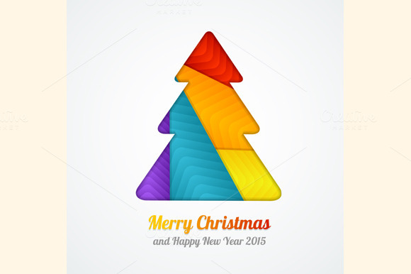 Vector Christmas Tree Paper Card