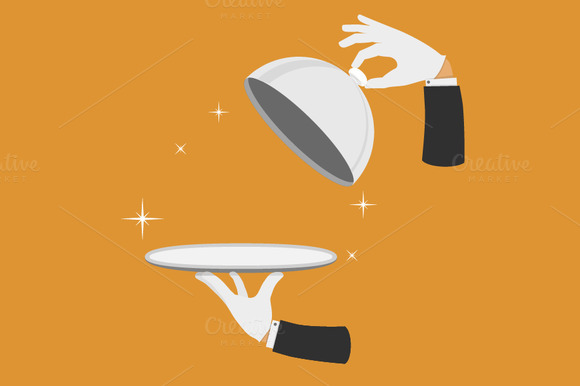 Waiter Hands With Tray And Cover