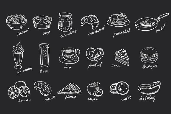 Food Hand-drawn Chalk On Blackboard