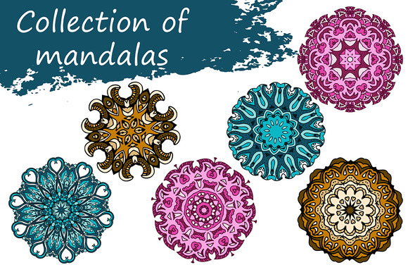 Collection Of Mandalas In 3 Colors