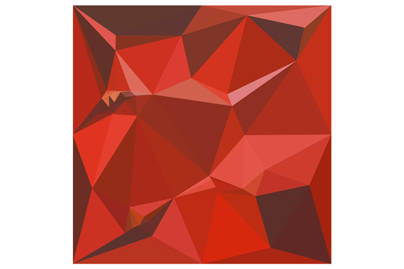 Auburn Red Abstract Low Polygon Back