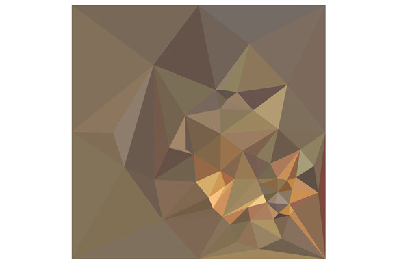 Dark Tan Brown Abstract Low Polygon