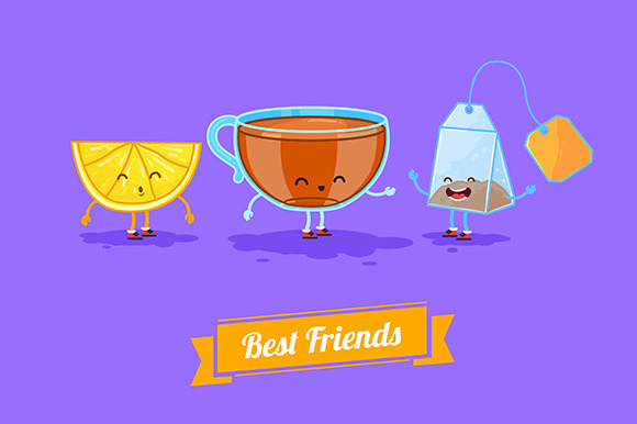 Funny Cup Lemon And Teabag Vector