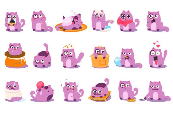 Cute Cartoon Cat In Various Poses
