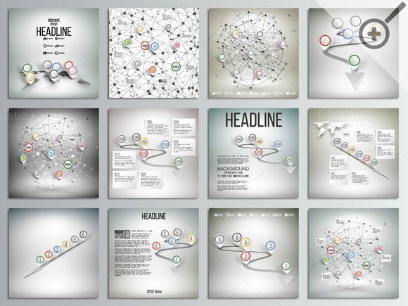 Set Of 12 Creative Infographic Cards