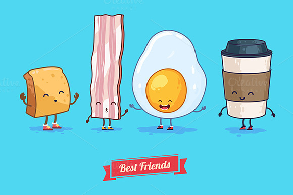 Funny Cup Egg Bacon Coffee